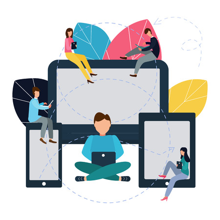 Vector illustration in flat style. Communicating via the Internet, social networks, chat, news, videos, messages, website, search for friends