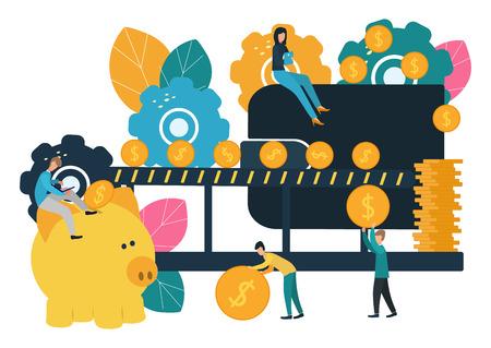 Vector flat illustration, big piggy bank on white background, open wallet, financial services, small bankers doing work, accumulating money Ilustração