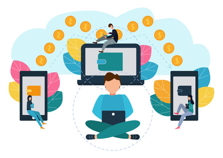 Vector illustration of financial transactions, money transfer. Electronic Wallets. Illustration in flat style
