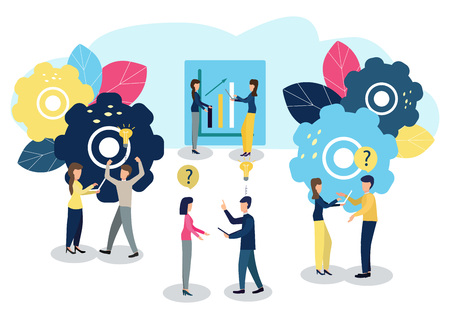 People work as a team and reach the goal. Vector illustration