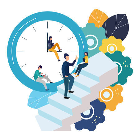Vector illustration, round clock on white background, time management concept