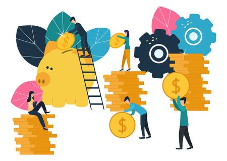 Vector flat illustrations, big piggy bank on white background, financial services, bankers do the work, hoard or save money Ilustração