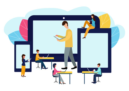 Vector colorful illustration of communication over the Internet, social networks, chat, video, news, messages, website, search for friends Ilustração