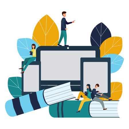 Vector creative illustration of distance learning, online learning, exam preparation, home schooling