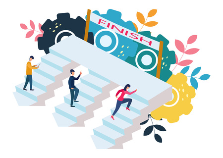 Vector illustration, people run and go to their goal on the stairs, raise motivation, the way to achieve the goal