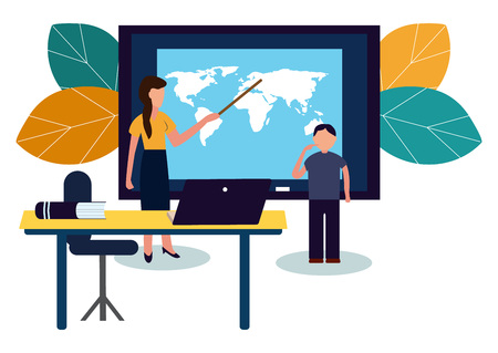 The school teacher explains the lesson to the student, the boy did not learn the lesson on his homework. Flat style color modern vector illustration.