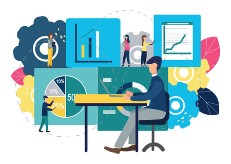 Vector illustration of a business, employees study infographics. Illustration for your design