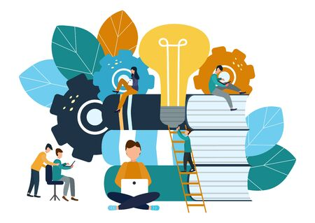 Vector illustration, teamwork, brainstorming