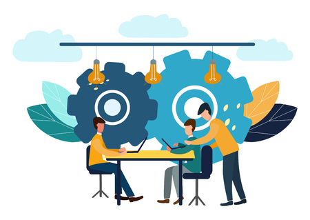 Vector illustration, online assistant at work. Promotion in the network. Search for new ideological solutions, teamwork in a company, brainstorming.