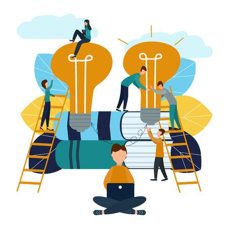 Ilustración vectorial, trabajo en equipo, empleados captaron la idea, buscando nuevas ideas creativas