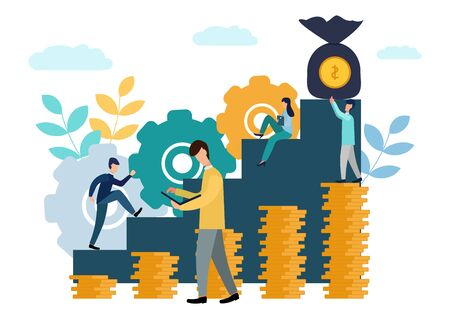 Vector illustration, the company is engaged in joint construction and the cultivation of cash profits, career growth to success, business analysis, flat style. New ideas. Stok Fotoğraf