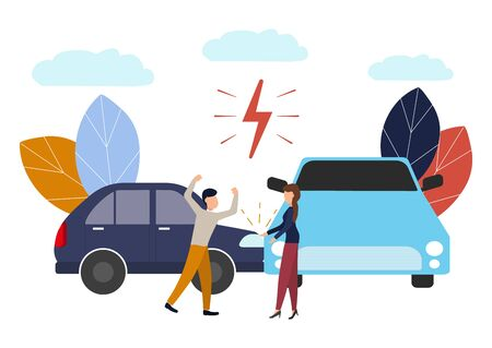 Vector illustration, car accident, flat style, people drivers man and woman swear, non-compliance with traffic rules. Stok Fotoğraf