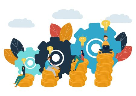 Vector flat illustration, business concept for teamwork, small people sit on the light bulbs in search of ideas, search for new solutions