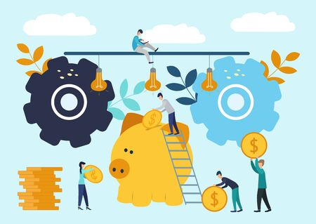 Vector flat illustrations, big piggy bank on white background, financial services, bankers do the work, hoard or save money. Stok Fotoğraf
