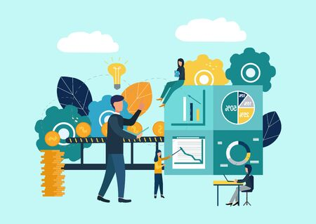 vector illustration, investment management, teamwork, new ideas and growing cash profits, career growth to success, business analysis. Flat color icons Stok Fotoğraf