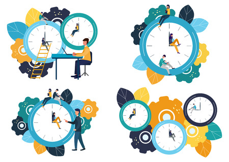 Set of vector illustrations, round clock on white background, time management concept.