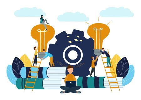 Vector illustration, teamwork, employees caught the idea, searching for new creative ideas.