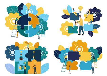 Business concept Team metaphor. people connecting puzzle elements. Set of vector illustrations. flat design style. Symbol of teamwork, cooperation, partnership, new ideas, new victories Stok Fotoğraf - 134263630