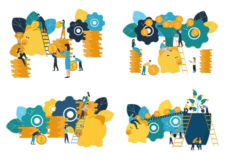 Set of vector flat illustrations, big piggy bank on white background, financial services, bankers do the work, hoard or save money.