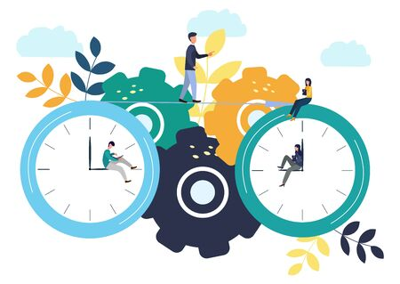Vector illustration, round clock on white background, time management concept. 免版税图像