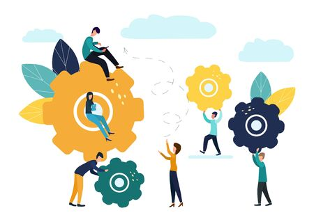 Business concept vector illustration, small people communication mechanism, business mechanism, people engaged in business promotion.