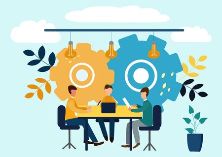 Vector flat illustrations, brainstorming, business concept for teamwork, search for new solutions, small people sit on light bulbs in search of ideas Stock Photo