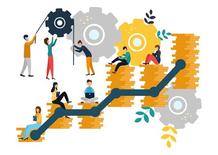 Vector flat illustration, business concept for teamwork, small people sit on the light bulbs in search of ideas, search for new solutions. 写真素材