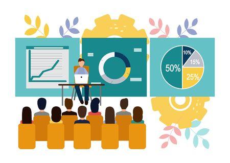 Vector illustration Office staff training. Team thinking. Increase sales and skills.