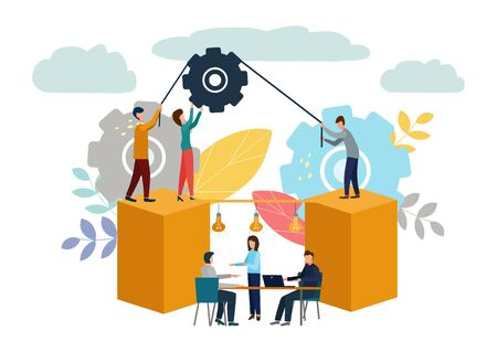 Vector illustration, teamwork, employees caught the idea, searching for new creative ideas