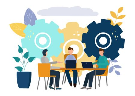 Vector flat illustrations, brainstorming, business concept for teamwork, search for new solutions, small people sit on light bulbs in search of ideas.