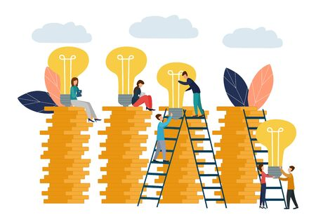 Vector illustration, business concept for teamwork, small people raise light bulbs on columns of money. Search for new ideas for financial growth.