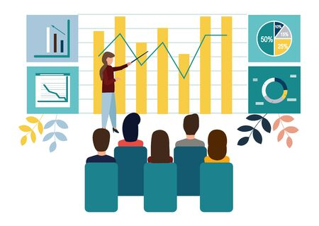 Vector illustration. Growth chart concepts, work of professional people teamwork. Flat style