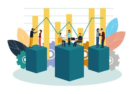 Vector illustration. Growth chart concepts, work of professional people teamwork.