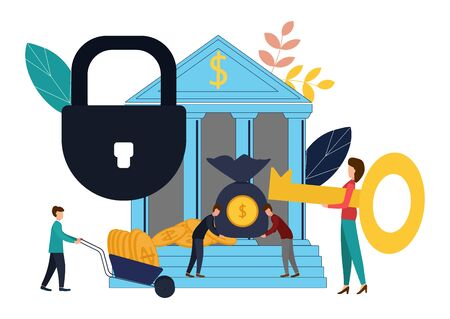 Vector illustration, concept of money protection, financial savings insurance, business security. Flat style