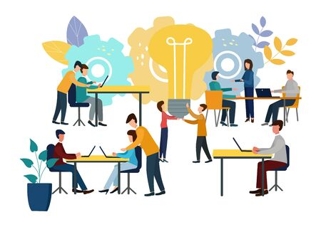 Vector illustration, online assistant at work. Promotion in the network. People are looking for new ideas, working together in a company