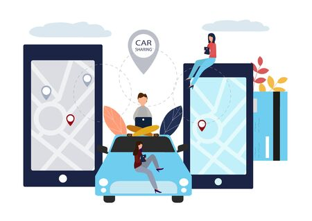 People and auto. Making deals online. Car rent. Vector illustration in flat style. Stok Fotoğraf