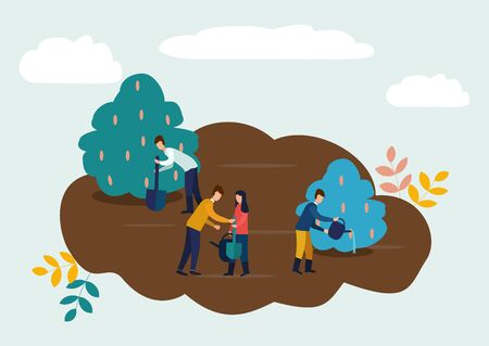 Agricultural work, people plant crops, water the crops, care for plants. Vector illustration in flat style