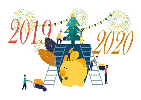 Vector flat illustrations, big piggy bank on a white background, New Year tree with money, businessmen are preparing for the new year, receive cash bonuses