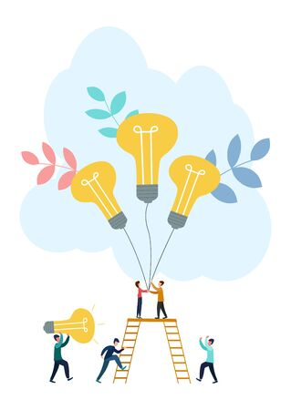 Vector flat illustration, business concept for teamwork, small people sit on the light bulbs in search of ideas, search for new solutions. Ilustracja