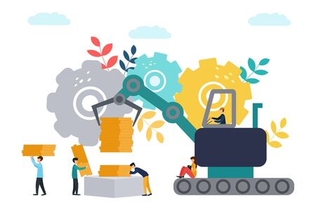 Vector flat illustration, big machine with an iron hand carries money, metaphor of making big money. businessmen count and accumulate capital