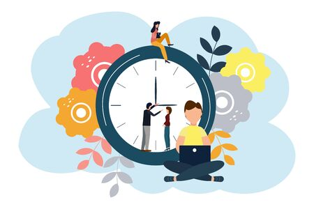 Vector illustration, round clock on white background, time management concept. Ilustracja