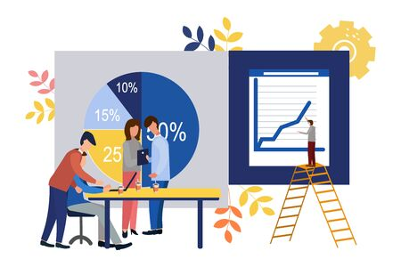 Vector illustration. Growth chart concepts, work of professional people teamwork. Flat style. Illustration