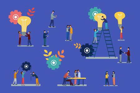 Vector flat illustrations, brainstorming, business concept for teamwork, searching for new solutions, small people looking for new ideas, studying graphics.