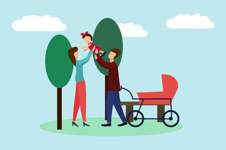 Vector illustration of a family, mother, father, daughter are walking in the park. Complete happy family