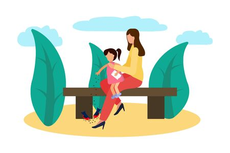 Vector illustration Mother and daughter in the park feed the birds. Happy family loving mother
