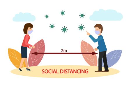 Social distances, keep your distance in a public place to protect yourself from the COVID-19 coronavirus. Man and woman stay at a distance. Vector flat illustration on a white background. 矢量图像