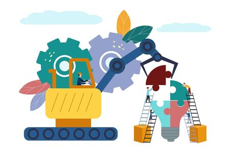 Vector illustration People connecting puzzle elements. Flat design. Teamwork, cooperation, partnership. Puzzle light 矢量图像