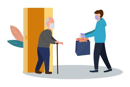 Fresh food and food delivery for the elderly. An elderly man receives a parcel. Social assistance and support. Volunteers Online ordering service during quarantine. Vector illustration