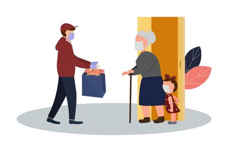 Fresh food and food delivery for the elderly. An elderly man receives a parcel. Social assistance and support. Volunteers Online ordering service during quarantine. Vector illustration. 矢量图像
