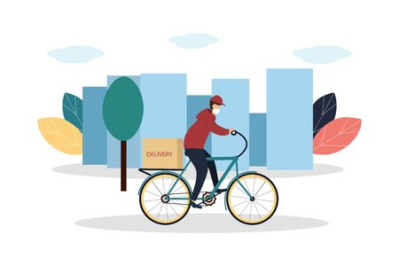 Coronavirus epidemic. Delivery service. A courier in a protective mask on a bicycle delivers goods and food to people in quarantine. Vector illustration 矢量图像